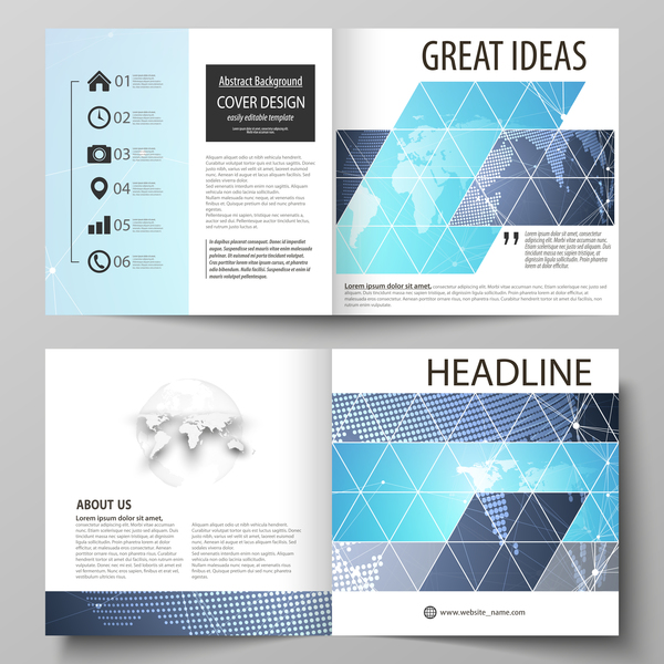 Bifold business brochure cover template vector 02