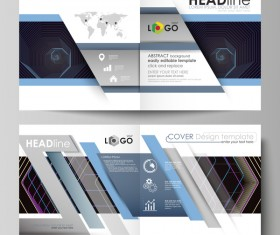 Bifold business brochure cover template vector 03
