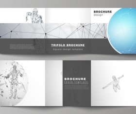Bifold business brochure cover template vector 04