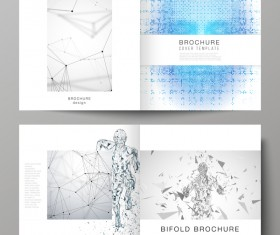 Bifold business brochure cover template vector 06