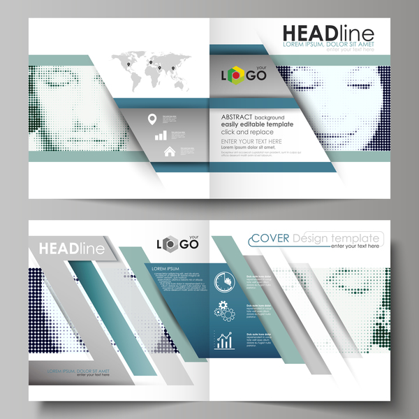 Bifold business brochure cover template vector 09