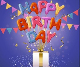 Birthday blue background with gift box vector
