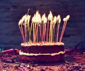 Birthday candle cake Stock Photo 03