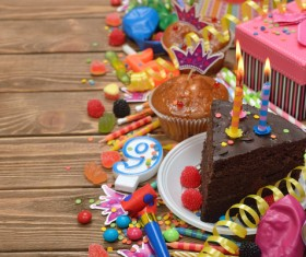 Birthday candle cake Stock Photo 04