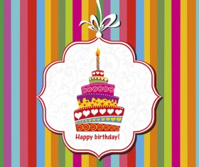Birthday card with cake label vector