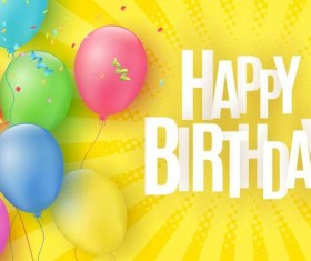 Birthday yellow background with colored balloon vector