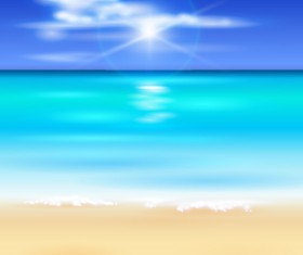 Blurs sea with beach background vectors