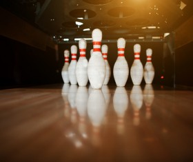 Bowling target ball bottle Stock Photo