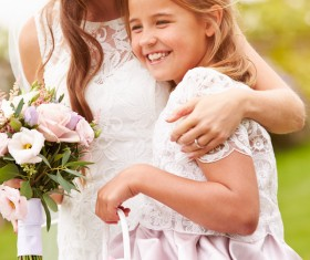Bride and Flower Girl Stock Photo 01