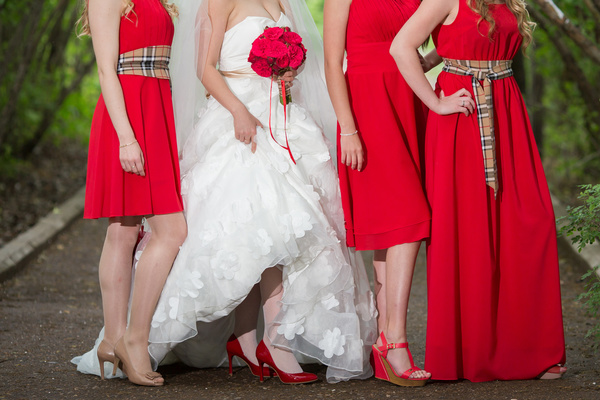 Bride and bridesmaid holding bouquet Stock Photo 01