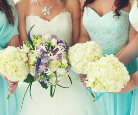 Bride and bridesmaid holding bouquet Stock Photo 05
