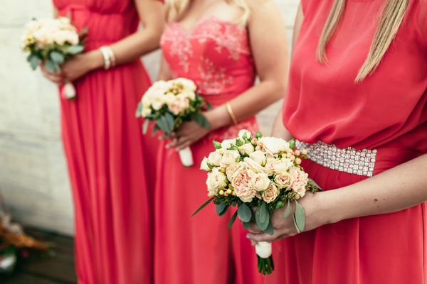 Bride and bridesmaid holding bouquet Stock Photo 07