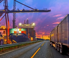 Bright dock and cargo truck Stock Photo