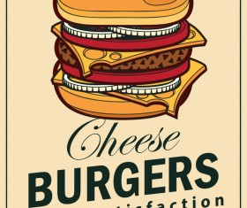 Burgers vintage poster vector material 01