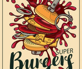 Burgers vintage poster vector material 02