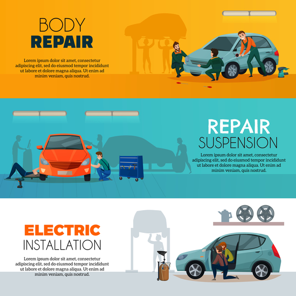 Car service workers horizontal banners vector