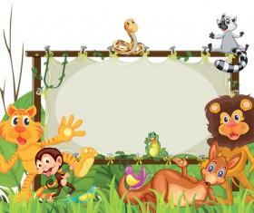 Cartoon cute animal design vector material