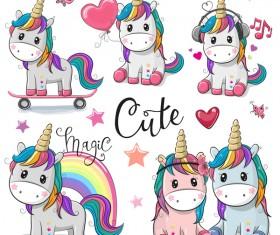 Cartoon cute unicorns vectors design 01