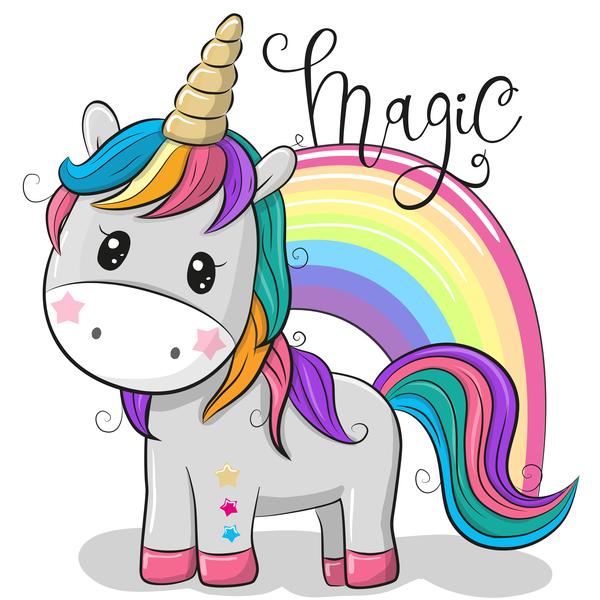 Cartoon cute unicorns vectors design 03 free download