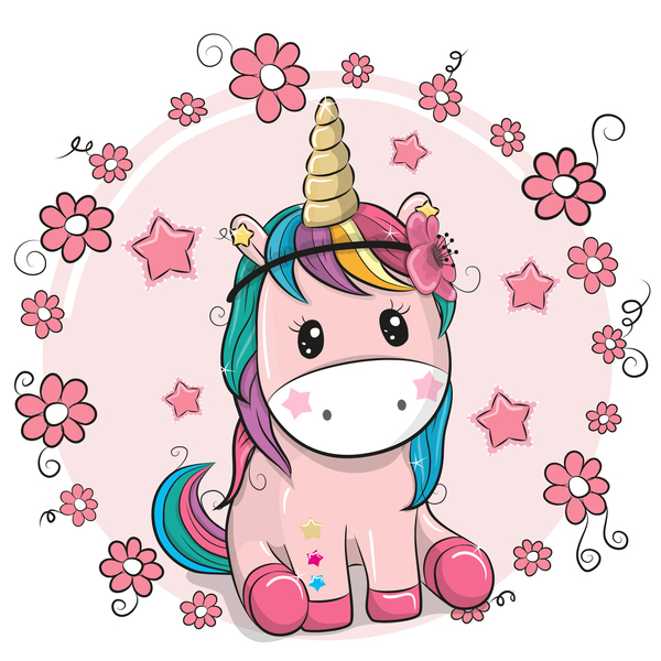 Cartoon cute unicorns vectors design 04