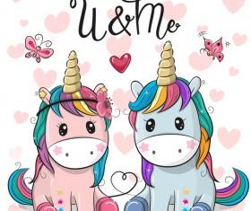 Cartoon cute unicorns vectors design 05