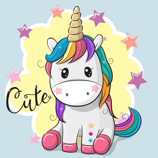 Cartoon cute unicorns vectors design 08