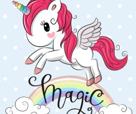 Cartoon cute unicorns vectors design 09