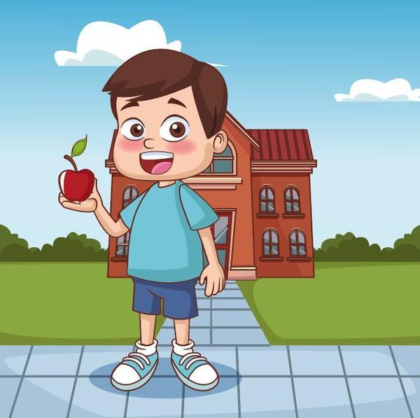 Cartoon kids with apple vector