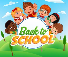 Cartoon kids with back to school background vector 01