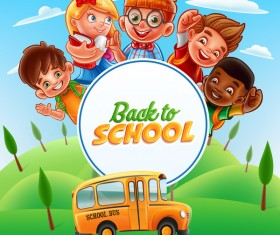 Cartoon kids with back to school background vector 02