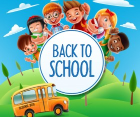 Cartoon kids with back to school background vector 03