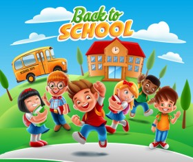 Cartoon kids with back to school background vector 04