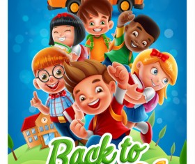 Cartoon kids with back to school background vector 05