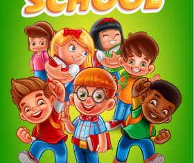 Cartoon kids with back to school background vector 06