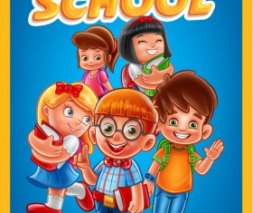 Cartoon kids with back to school background vector 07