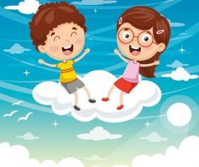 Cartoon kids with cloud vector