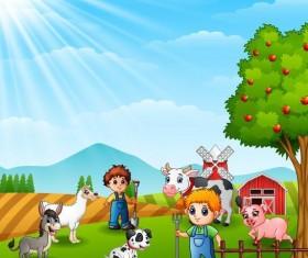 Cartoon kids with cute animal vector