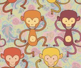 Cartoon monkeys seamless pattern vector 02