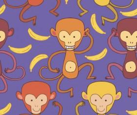 Cartoon monkeys seamless pattern vector 03