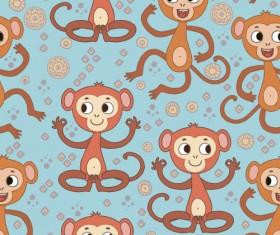 Cartoon monkeys seamless pattern vector 04