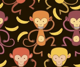 Cartoon monkeys seamless pattern vector 05