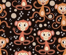 Cartoon monkeys seamless pattern vector 06
