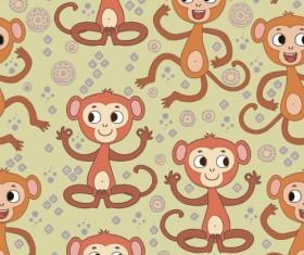 Cartoon monkeys seamless pattern vector 07