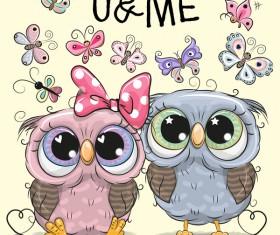 Cartoon owl lovers cute vector 01