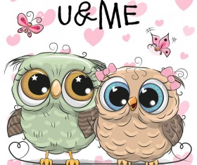 Cartoon owl lovers cute vector 02