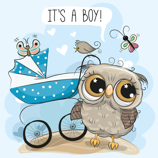 Cartoon owl with baby carriage vector