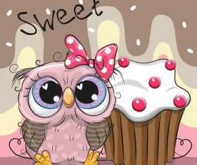 Cartoon owl with cake vector