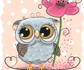 Cartoon owl with flower vector