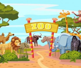 Cartoon zoo design vectors 01