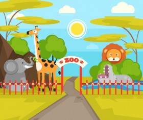 Cartoon zoo design vectors 02